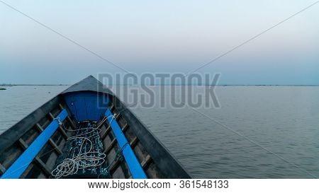 Boat Point Of View Inle Lake, Myanmar. Room For Copy Sunrise Still Lake, Morning Mist Still Lake. Ov