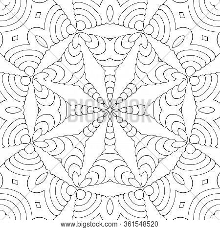 Simple Coloring Book For Kids And Adults. Seamless Pattern, Symmetric Ornament, Mandala, Kaleidoscop