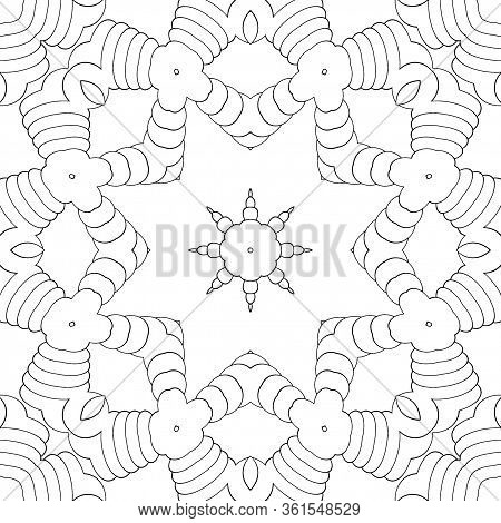 Seamless Pattern, Symmetric Ornament, Mandala, Kaleidoscope For Coloring. Coloring Book For Kids And