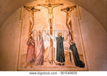 Florence, Italy: Crucifixion Of Jesus Christ, 15th Century Fresco By Fra Angelico Inside A Monastery