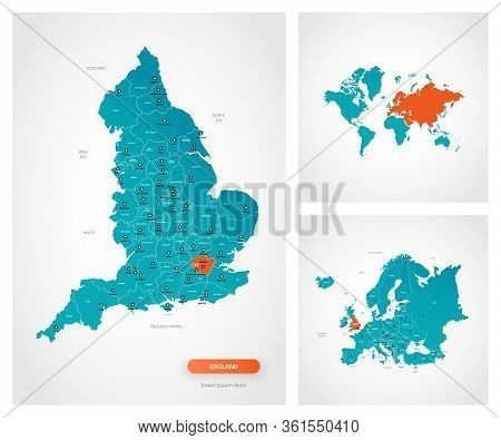 Editable Template Of Map Of England With Marks. England  On World Map And On Europe Map.