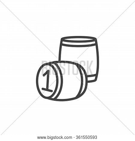 Lotto Barrels Line Icon. Linear Style Sign For Mobile Concept And Web Design. Lotto Board Game Outli