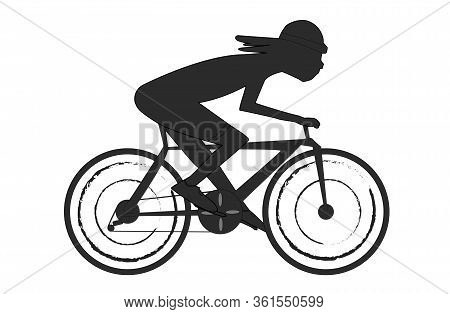 Silhouette Of A Cyclist Athlete. Logo Of A Cyclist Isolated On A White Background. A Man In A Helmet