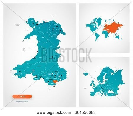 Editable Template Of Map Of Wales With Marks. Wales  On World Map And On Europe Map.