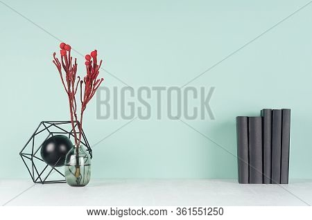 Light Spring School Workplace With Row Black Books, Red Branch In Glass Vase, Decorative Model Atom