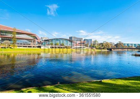 Adelaide, Australia - August 4, 2019: Adelaide City Business District Skyline Viewed Across Torrens