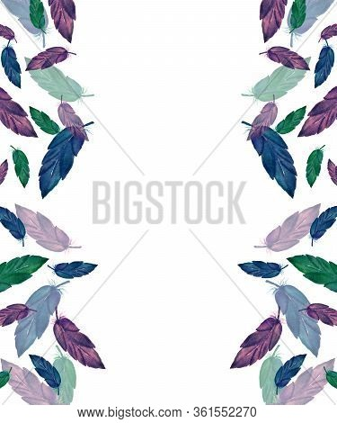 Frame With Feathers, Hand Painted Illustration With Watercolor Feather, Feather Background Design Wi