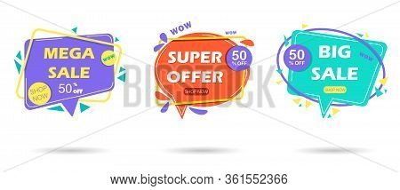 Big set sale banners. Sale and discounts. ector set banners. Ribbons set. Banner decoration discount empty tags. Premium origami labels, price ribbon. Sale sticker, bookmark badge vector set. Illustration ribbon banner sticker, label for sale and premium