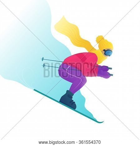 Skier In Ski Clothes And Goggles Skiing Downhill. Ski Resort Vector Illustration In Cartoon Style. W