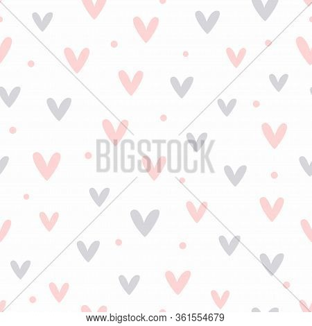Seamless Pattern With Scattered Hearts And Dots. Cute Girly Print. Romantic Vector Illustration.