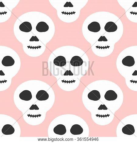 Simple Seamless Pattern With Skulls. Modern Girly Print. Vector Illustration.