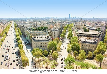 Champs Elysees Avenue View From The Arc De Triomphe
