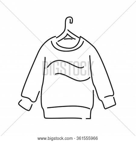 Pullover Black Line Icon. A Piece Of Woollen Clothing That Covers The Upper Part Of Body And Arms. P