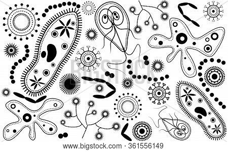 Microbiology Background Viruses, Bacteria, Spores, Fungi Black And White