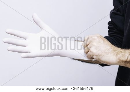 Putting On Latex Glove To Prevent Contagion  Conceptual Hygiene, Importance To Avoid Contagions