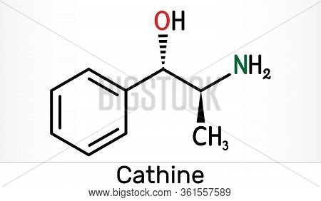 Cathine, Norpseudoephedrine, C9h13no Molecule. It Is Alkaloid, Psychoactive Drug With Stimulant Prop