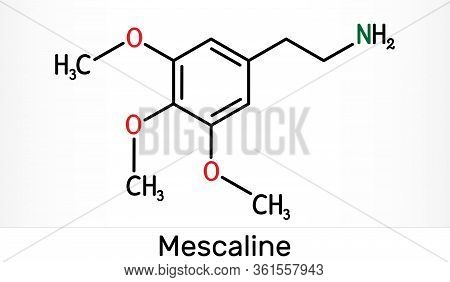 Mescaline Molecule. It Is Hallucinogenic, Psychedelic, Phenethylamine Alkaloid. Skeletal Chemical Fo