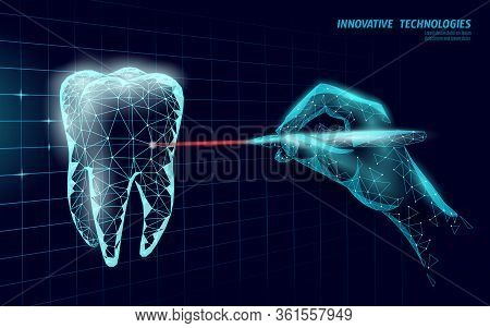 Medical Healthy Human Tooth 3d. Medicine Model Low Poly. Doctor Online Laser Surgery Concept. Dentis