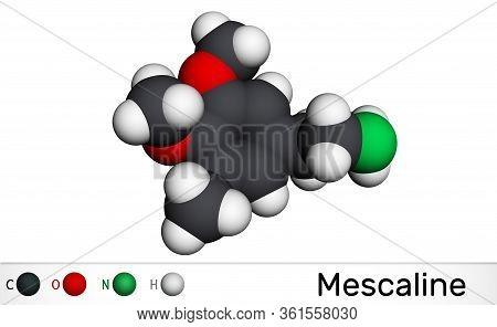 Mescaline Molecule. It Is Hallucinogenic, Psychedelic, Phenethylamine Alkaloid Molecular Model. 3d R