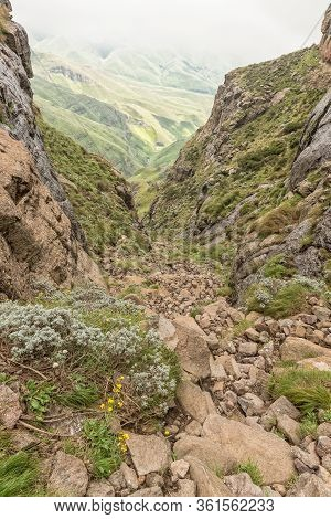 The Sentinel Gully, The Alternative Route To The Top Of The Amphitheatre In The Drakensberg