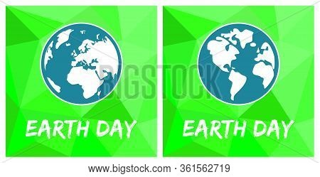 Earth Day Flat Green Vector Icon Set
