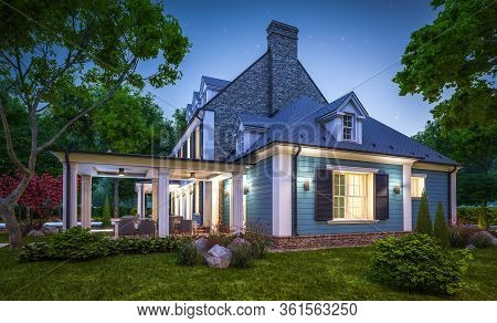 3D Rendering Of Modern Classic House In Colonial Style In Night