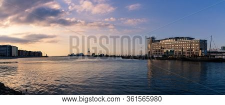 One Of The Harbors In Malmö, Sweden, Called The Inner Harbor (inre Hamnen) During Summer Sunset