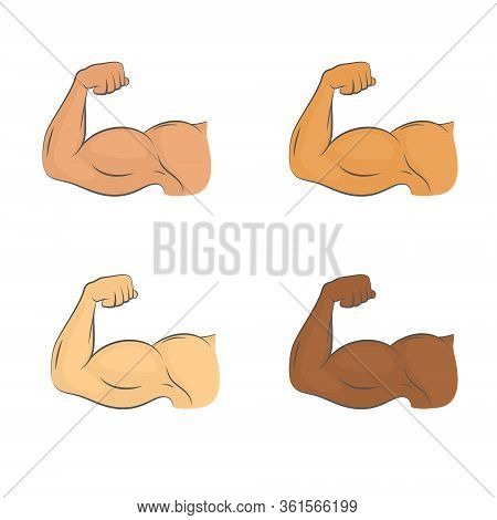 Set Of Flexed Biceps Colored Icons. A Symbol Of Strrength And Masculinity. Bodybuilding And Workout
