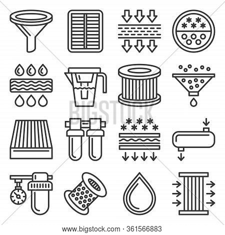 Water, Air And Car Oil Filter Related Icons Set On White Background. Line Style Vector