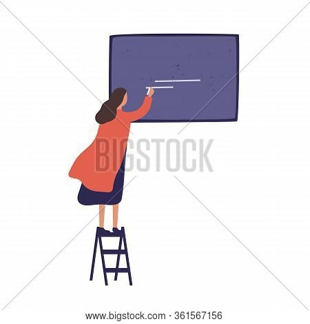 Cartoon Female Standing On Stairs Whiting On Blackboard Use Chalk Vector Flat Illustration. Colorful