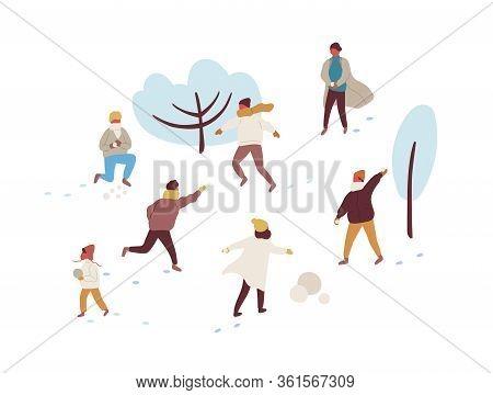 Happy Cartoon People Playing Snowballs And Making Snowman Vector Flat Illustration. Joyful Colorful