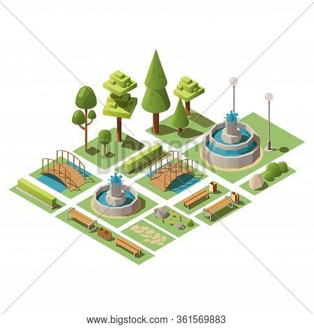 Isometric Set Of View Design Elements For Garden Landscape And Outdoor City Park. 3d Vector Illustra