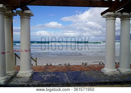 Cape Town, South Africa - 16 April 2020 : Empty Beach At Muizenberg In Cape Town, South Africa Durin