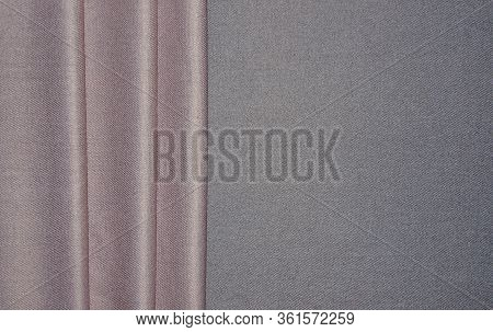 Luxury Ladies Gray-pink Cashmere Stole With Soft Vertical Drapery. Top View Of  Woolen With Viscose