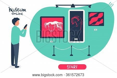 Man Holds Phone, Visit Online Museum, Gallery, Watches Paintings. Interactive Museum Exhibition. Sma