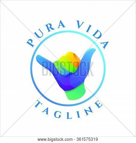 Abstract Hawaii Shaka Pura Vida Colorful Logo Design Vector Template Eps 10