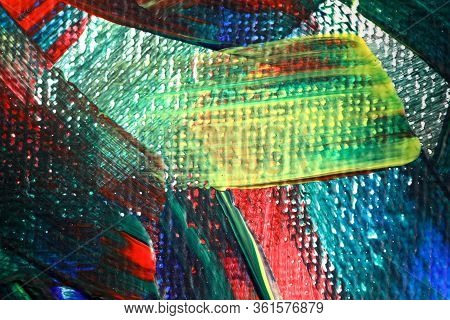 Close-up Of Painting Fragment. Picture With Paintbrush Strokes On Canvas. Colourful Masterpiece. Pie