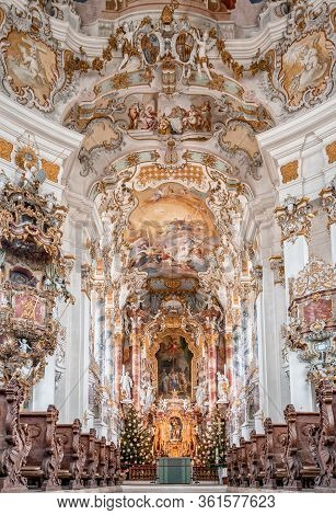 Feb 1, 2020 - Steingaden, Germany: Rococo Facade Of Altar With Fesco Ceiling Inside Pilgrimage Churc
