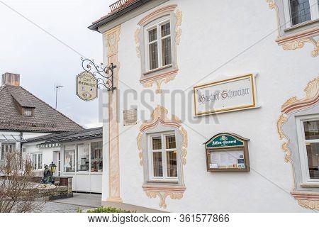 Feb 1, 2020 - Steingaden, Germany: Side Facade Of Traditional Rococo Restaurant Gasthof Schweiger Ne