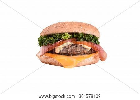 Fresh Burger With Pork And Beef Cutlet, Bacon, Cheddar Cheese, Caesar Sauce Isolated On White Backgr