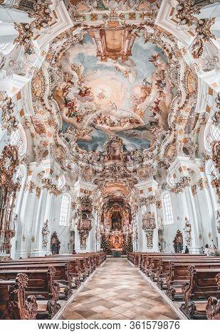 Feb 1, 2020 - Steingaden, Germany: Ultrawide Fisheye View Of Rococo Altar Facade Inside Pilgrimage C