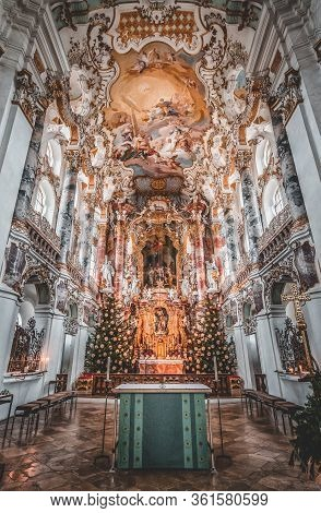 Feb 1, 2020 - Steingaden, Germany: Ultrawide View Of Altar With Rococo Fesco Ceiling Inside Pilgrima