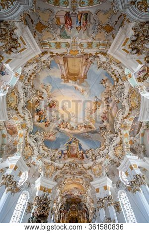 Feb 1, 2020 - Steingaden, Germany: Rococo Style Dome Fresquo Ceiling With Tromp-loeil In Pilgrimage