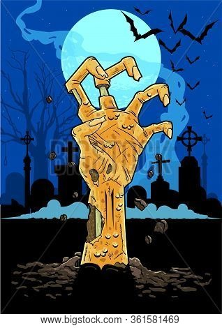 Vector Illustration Of Zombie Hand In A Cemetary At Night Pushing Up Out Of The Ground In Front Of G