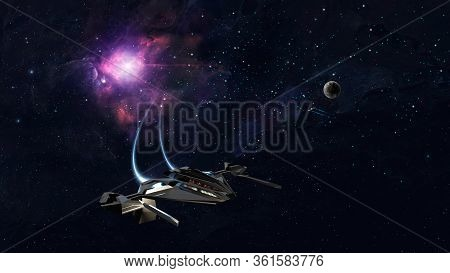 Space Background. Spaceship Fly In Colorful Nebula With Planet. Elements Furnished By Nasa. 3d Rende