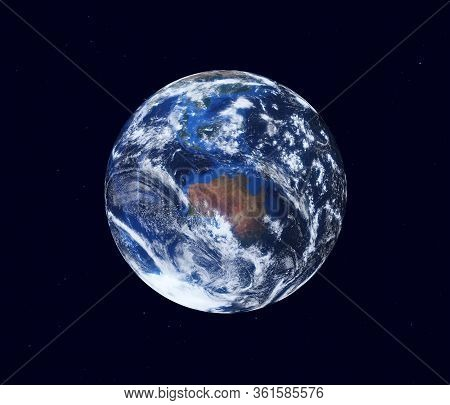 Earth Globe, View Of The Continent Of Australia. Map Furnished By Nasa. 3d Illustration