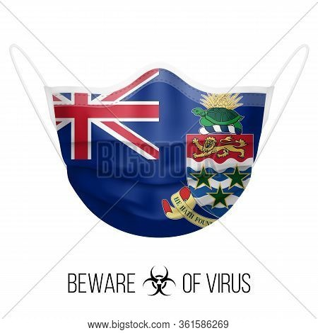 Medical Mask With National Flag Of Cayman Islands. Protective Mask Virus And Flu. Surgery Concept Of