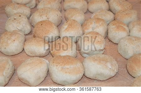 Rows Of Fresh Baked Filipino Pandesal Bread Rolls