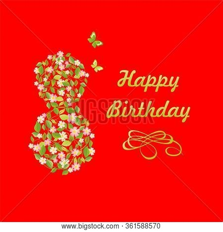 Happy Birthday eight 8 year, red greeting card or party invite with flowered apple-tree in 8 number shape