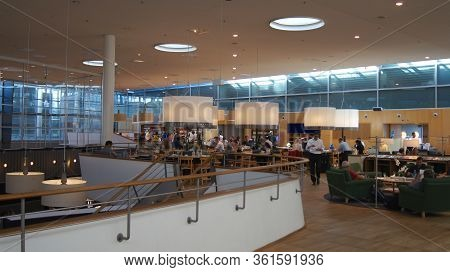 Copenhagen, Denmark - Jul 06th, 2015: Airport Interior Inside A Business Lounge With Seating Area An